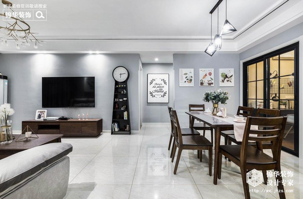 现代风格-新城金郡-三室两厅-128平-餐厅-装修效果实景图