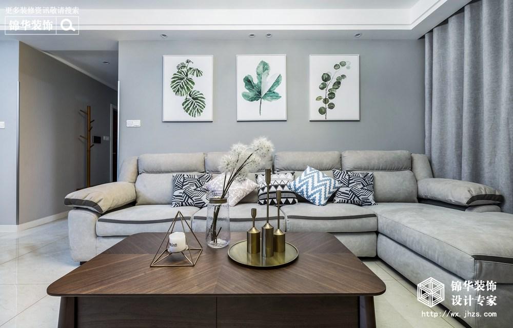 现代风格-新城金郡-三室两厅-128平-客厅-装修效果实景图