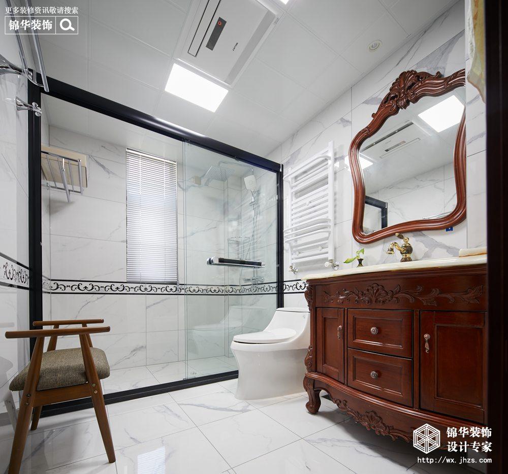 新中式风格-中建城中墅-三室两厅-156平-卫生间-装修实景效果图