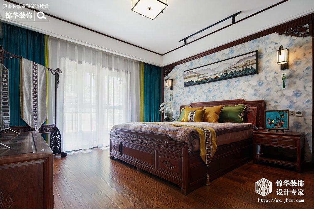 新中式风格-中建城中墅-三室两厅-156平-卧室-装修实景效果图