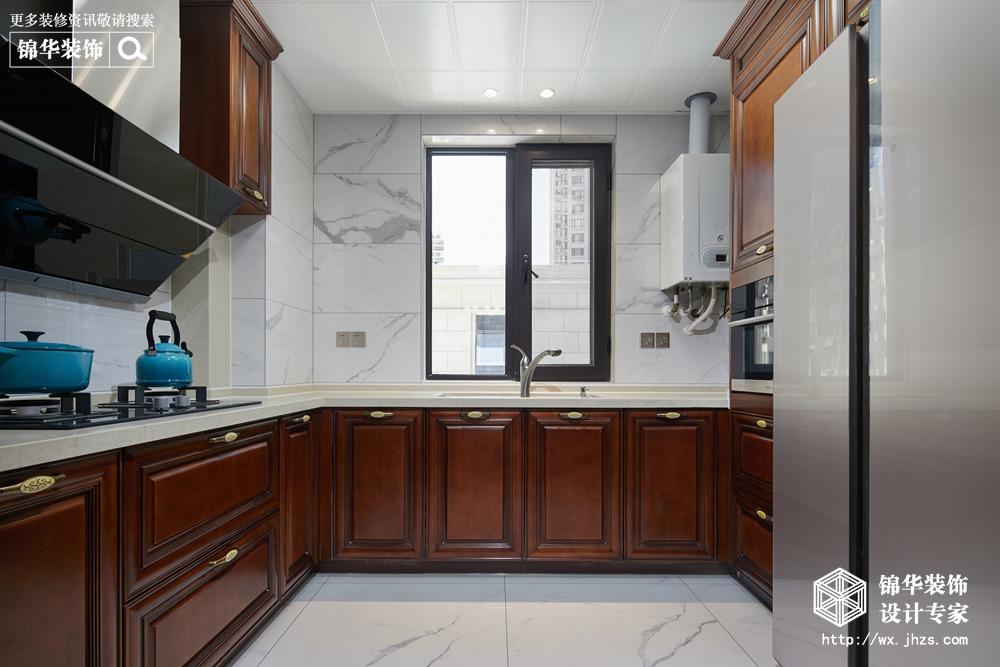 新中式风格-中建城中墅-三室两厅-156平-厨房-装修实景效果图