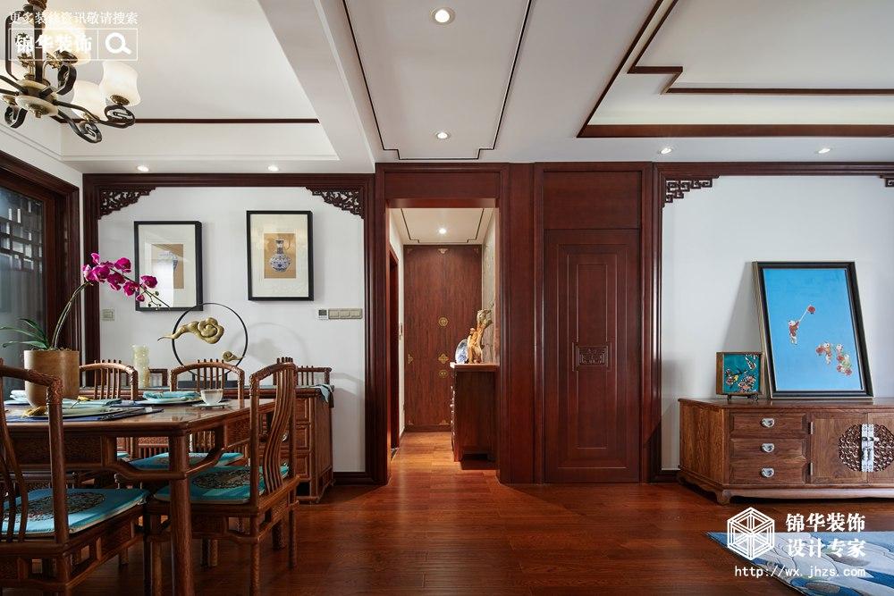 新中式风格-中建城中墅-三室两厅-156平-餐厅-装修实景效果图