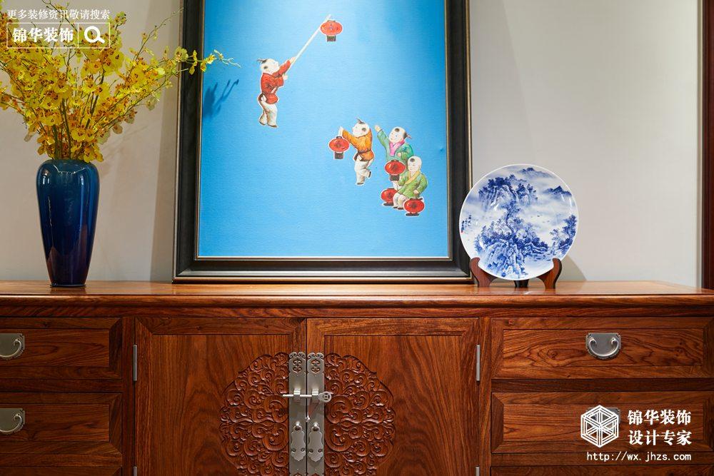 新中式风格-中建城中墅-三室两厅-156平-客厅-装修实景效果图