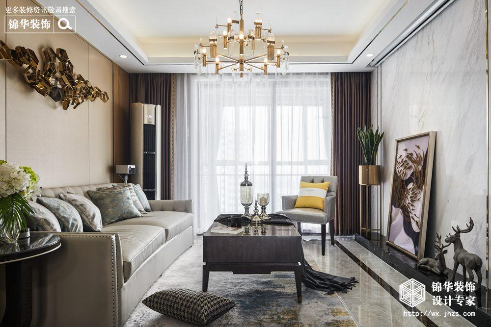 现代轻奢风格-华润橡树湾-三室两厅-118平米-装修实景效果图