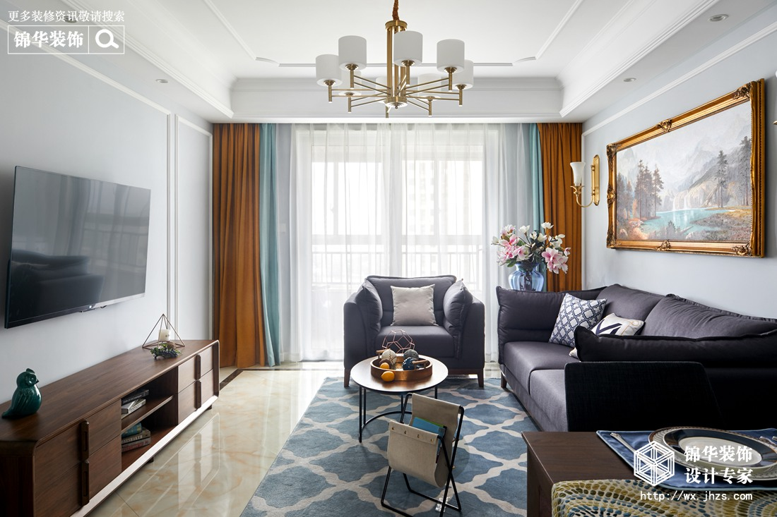 混搭风格-lols10外围平台凤凰熙岸-三室两厅-118平-客厅-装修实景效果图