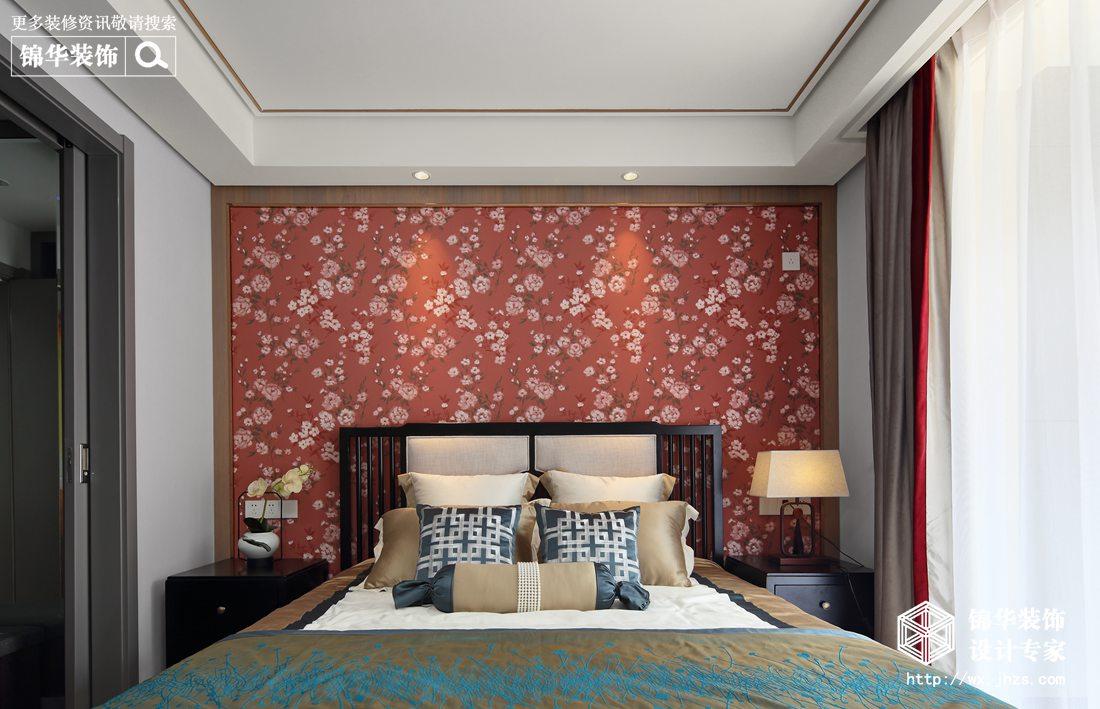 中式风格-孔雀城-三室两厅-110平-卧室-装修效果实景图