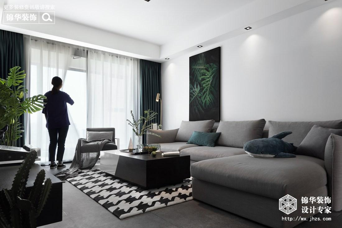现代简约-百乐广场-三室两厅-140平-客厅-装修实景效果图