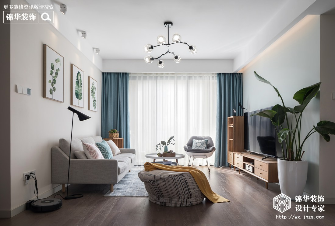 北欧风格-保利香槟-三室两厅-94平-客厅-装修实景效果图