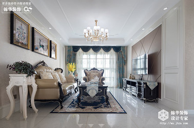 简欧风格-华府庄园-三室两厅-93平米-装修实景效果图