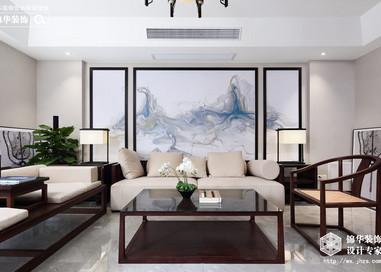 新中式风格-长江国际花园-跃层复式-240平-装修实景效果图