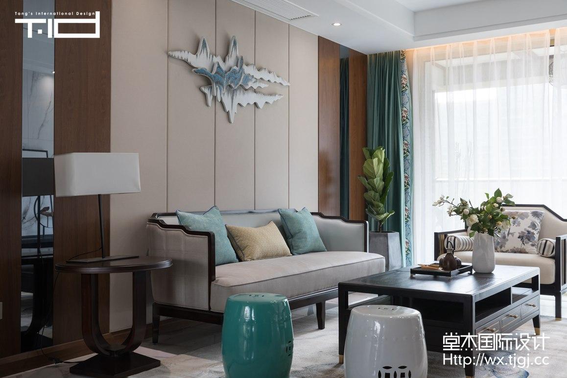 轻奢风格-玉兰花园-大户型-180平-客厅-装修效果实景图
