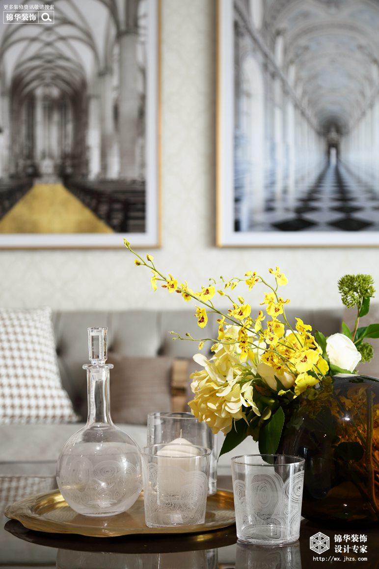 美式轻奢风格-海岸城郦园-三室两厅-135平-客厅-装修实景效果图