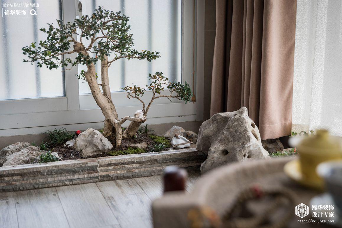 鸿景雅园140平简约中式风格实景图装修-三室两厅-新中式