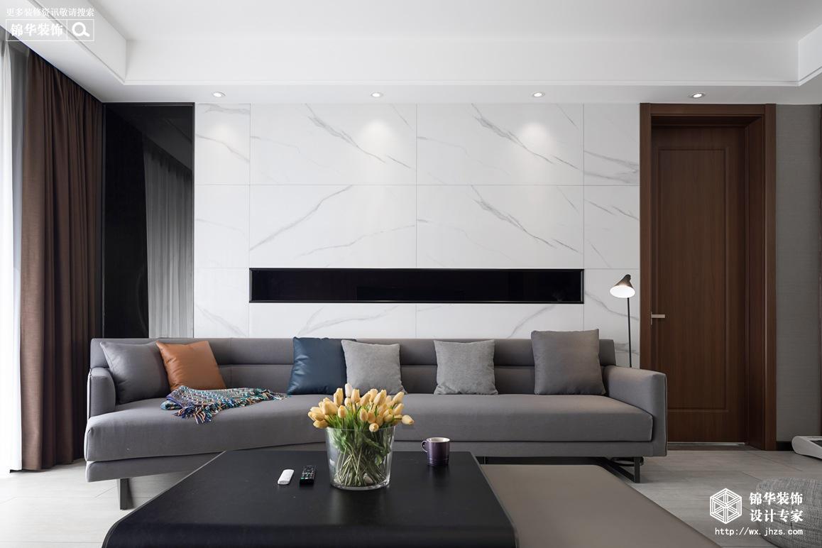 现代简约-金桂尚苑-三室两厅-160平-客厅-装修效果实景图