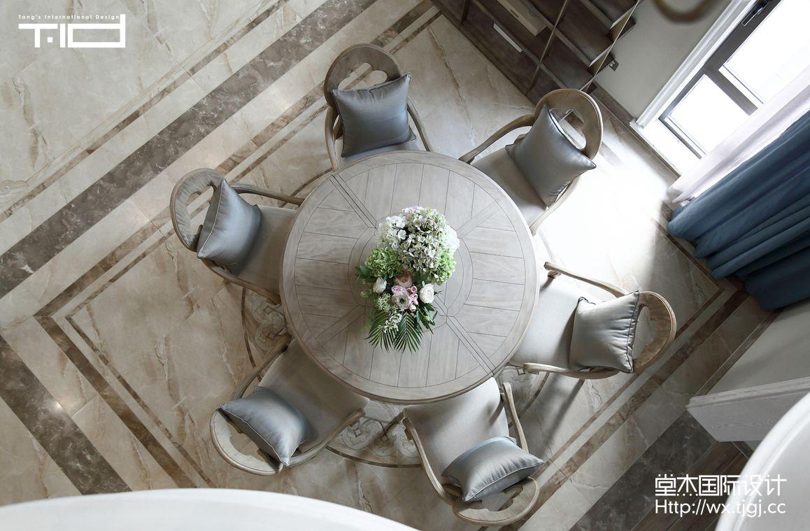休闲美式-金丰观湖铂庭-别墅-380平-餐厅-装修效果实景图