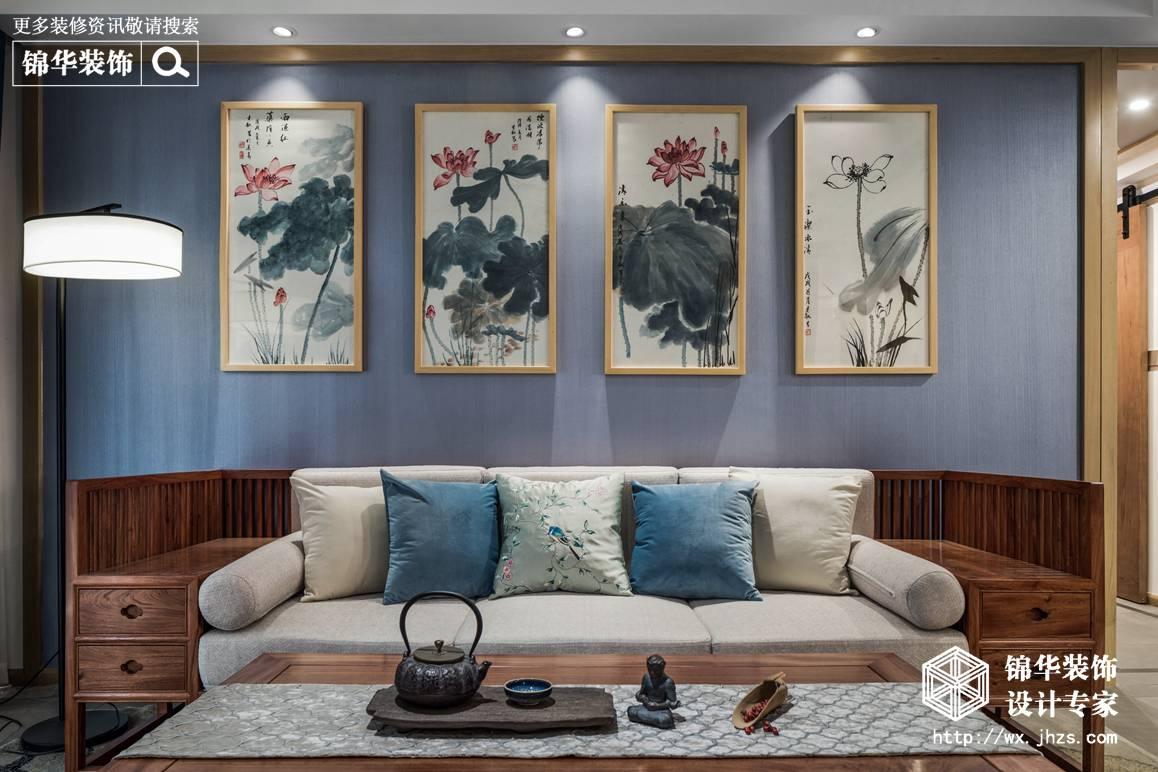 新中式-万科润园-三室两厅-140平-装修实景效果图