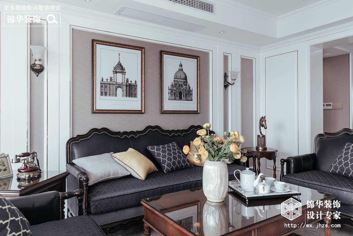 简美-尚城国际-三室两厅-142平-装修实景效果图