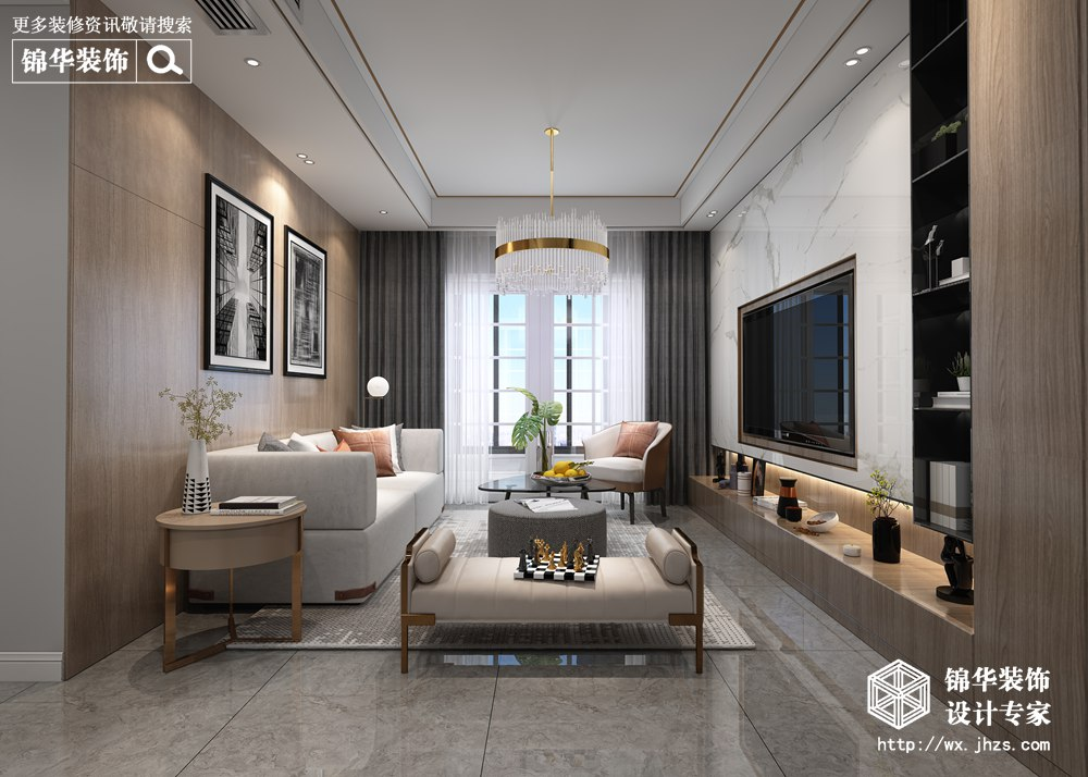 雍锦园109平方现代轻奢风格效果图
