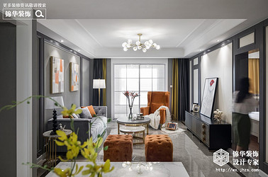 美式轻奢-孔雀城-三室两厅-135平-装修效果实景图
