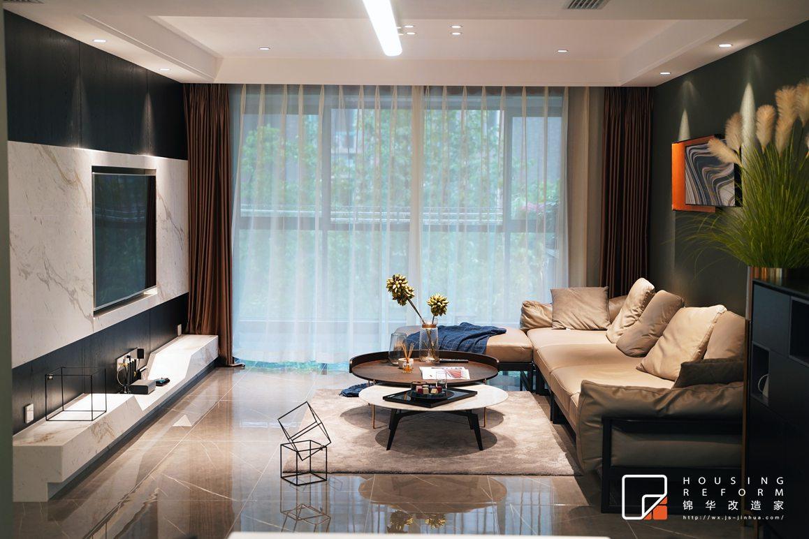 蔚蓝都市花园-现代风格-130平-客厅沙发