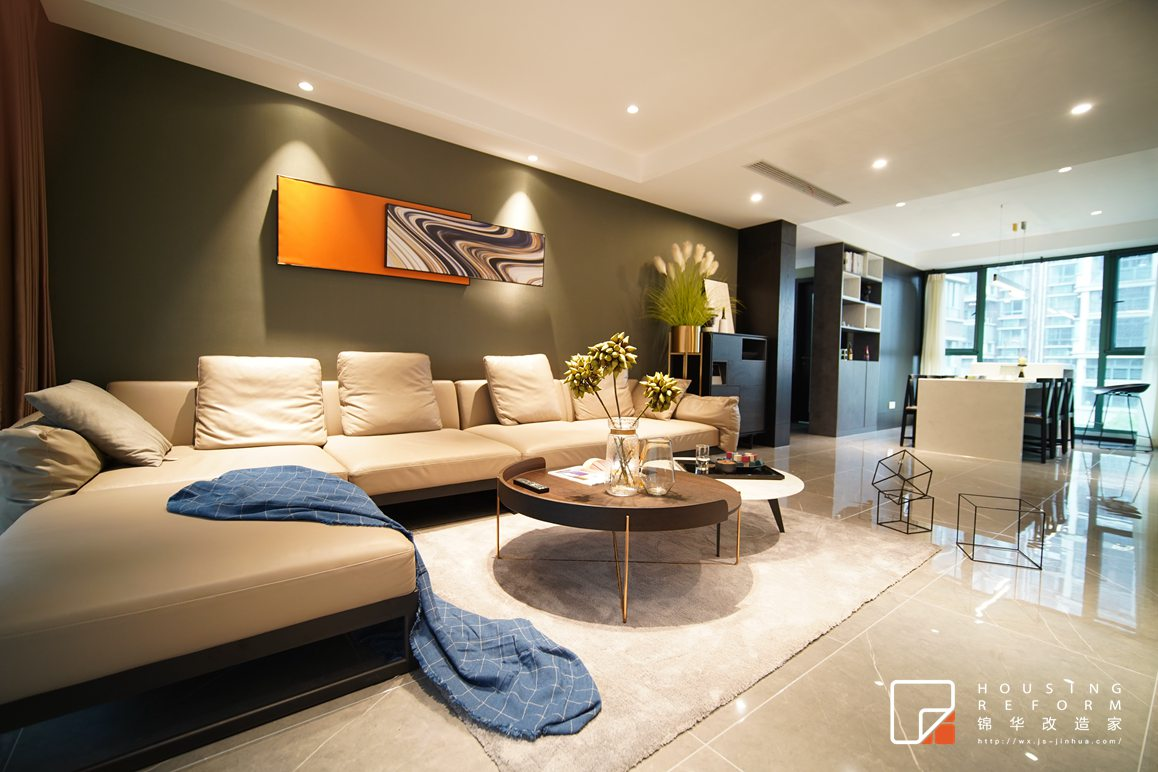 蔚蓝都市花园-现代风格-130平-客厅