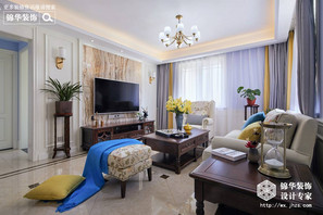 简约美式风格-寺头家园-三室两厅-120平-装修实景效果图