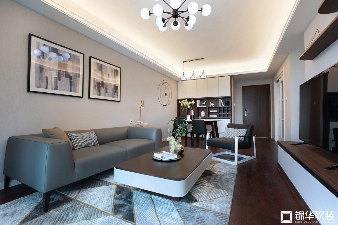 现代简约-金域缇香-两室两厅-86平-软装实景效果图