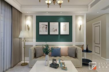 现代美式风格 -运河壹号府-三室两厅-107平-装修效果图