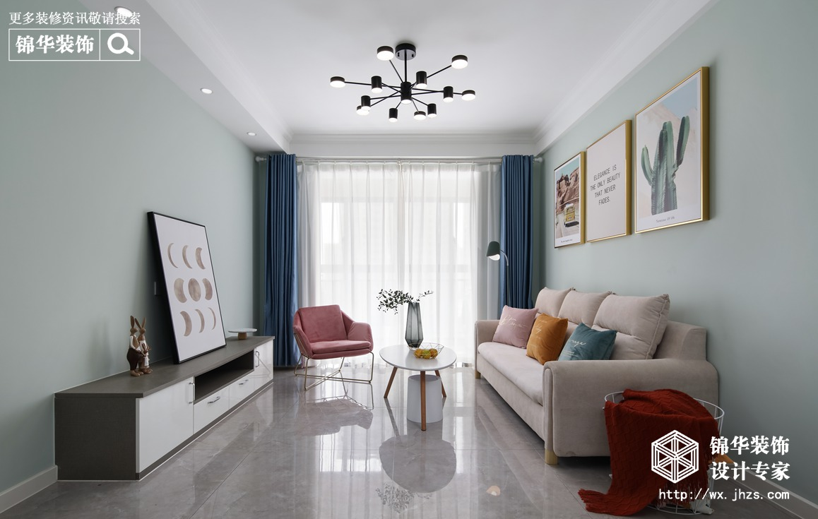 现代北欧风格-香江豪庭-三室两厅-89平-装修实景效果图