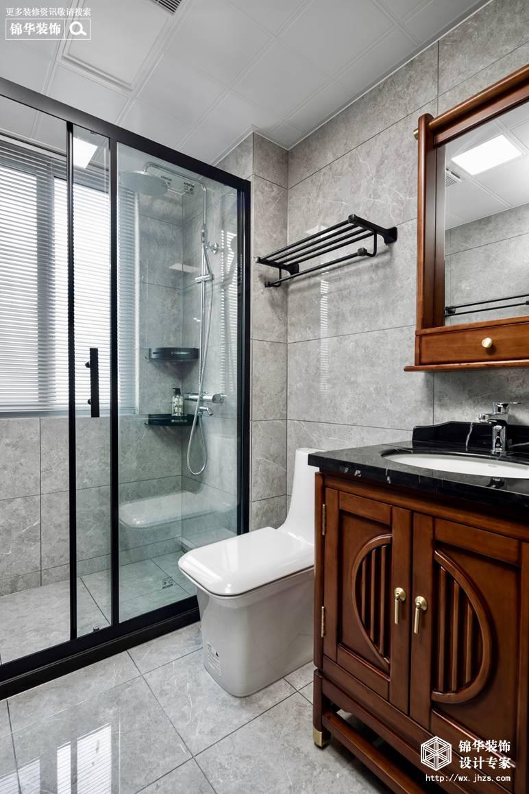 新中式风格-国信世家-三室两厅-140平-卫生间-装修实景效果图