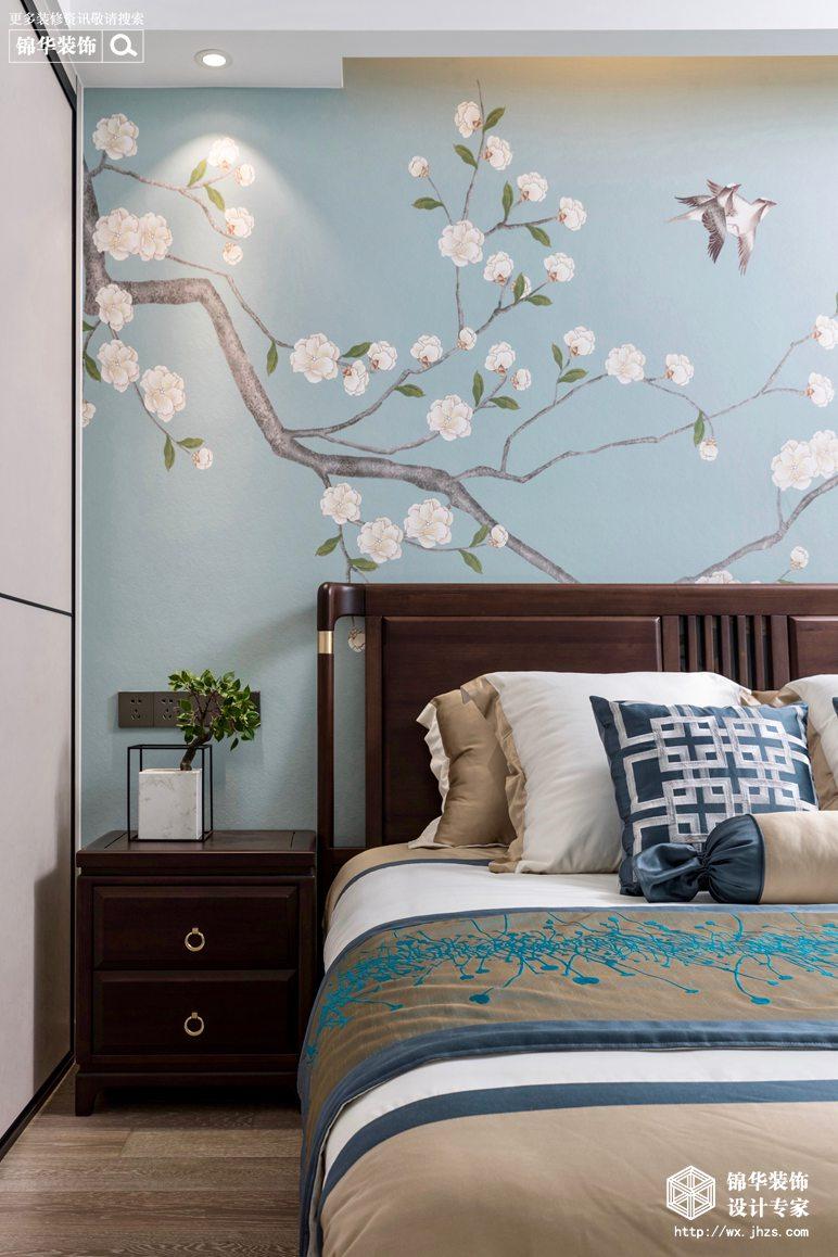 新中式风格-国信世家-三室两厅-140平-卧室-装修实景效果图