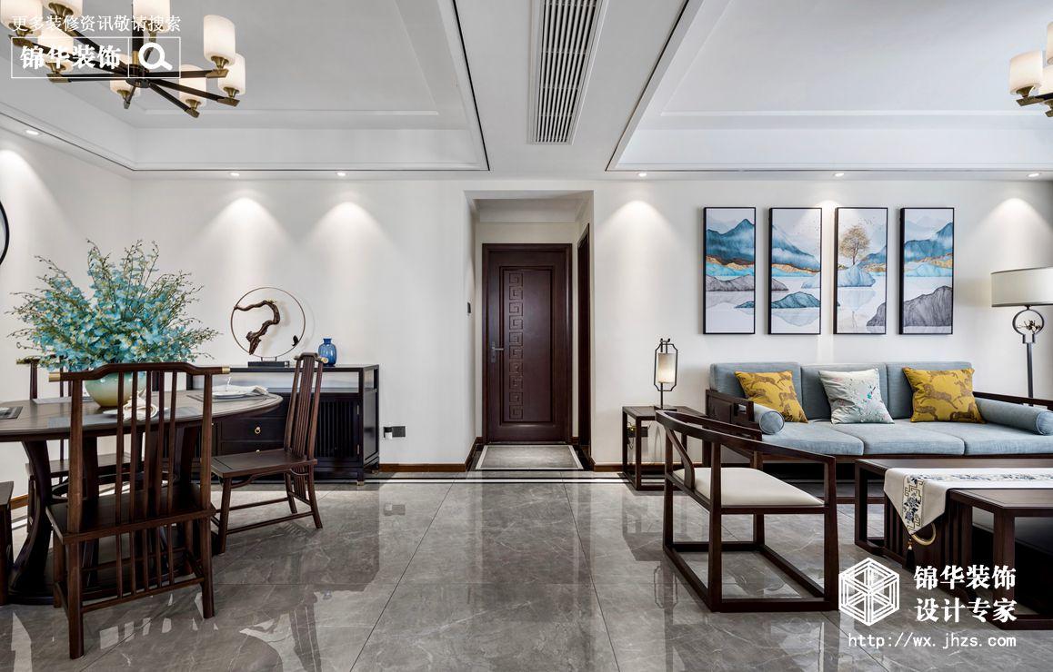 新中式风格-国信世家-三室两厅-140平-客餐厅-装修实景效果图