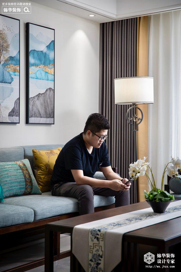 新中式风格-国信世家-三室两厅-140平-客厅-装修实景效果图