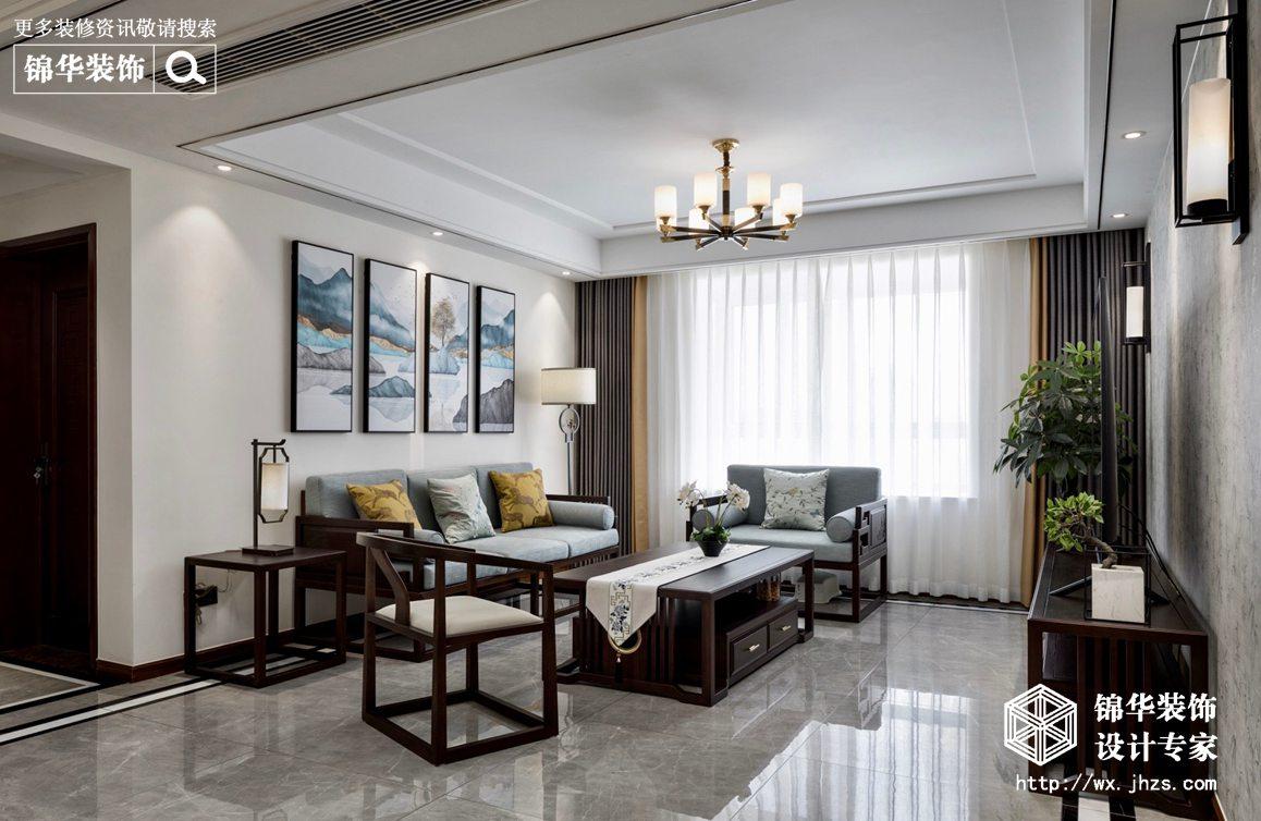 新中式风格-国信世家-三室两厅-140平-客厅装修实景效果图