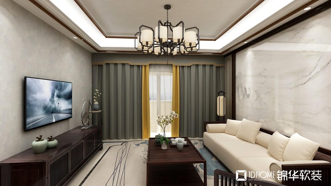 新中式风格-中海英伦观邸-三室两厅-115平-客厅-装修效果图