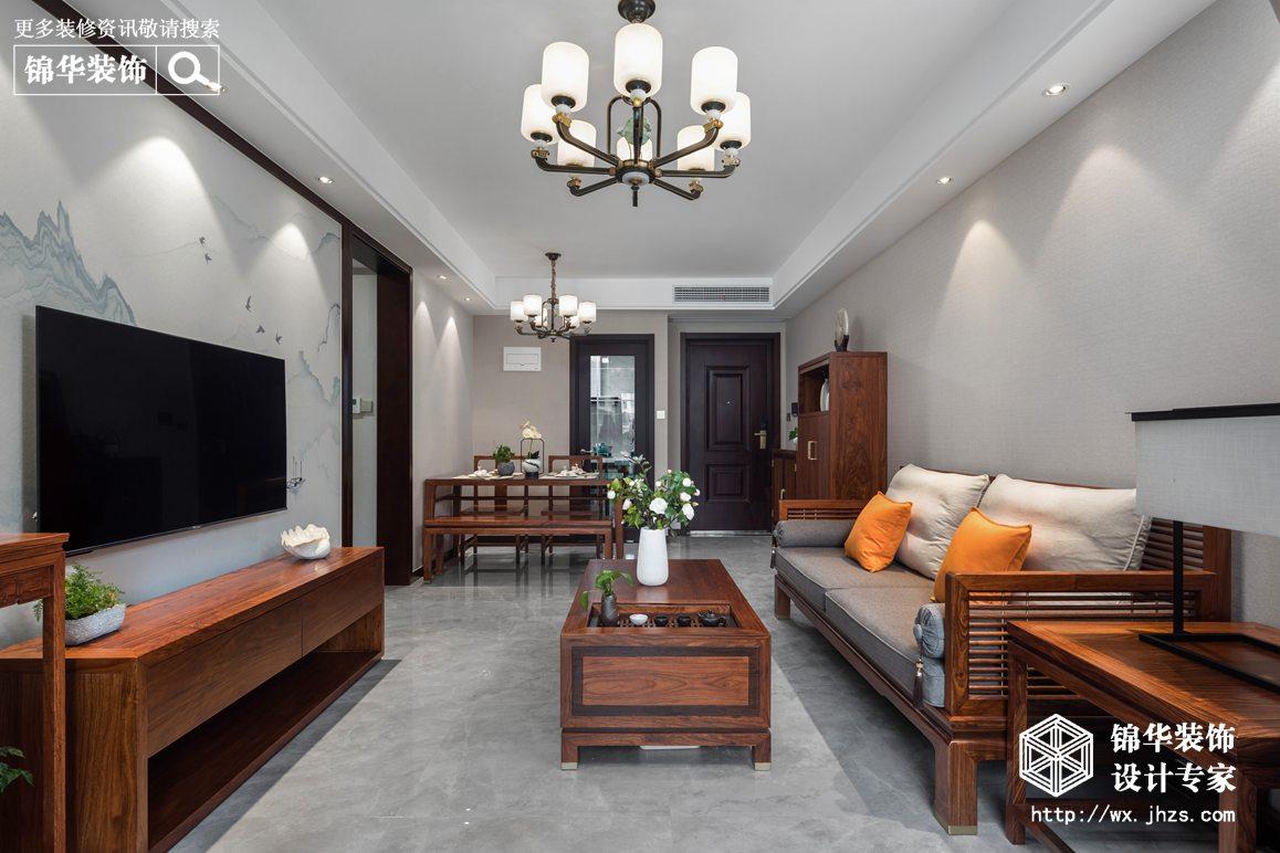 新中式风格-瑷颐湾-两室两厅-89平-装修实景效果图