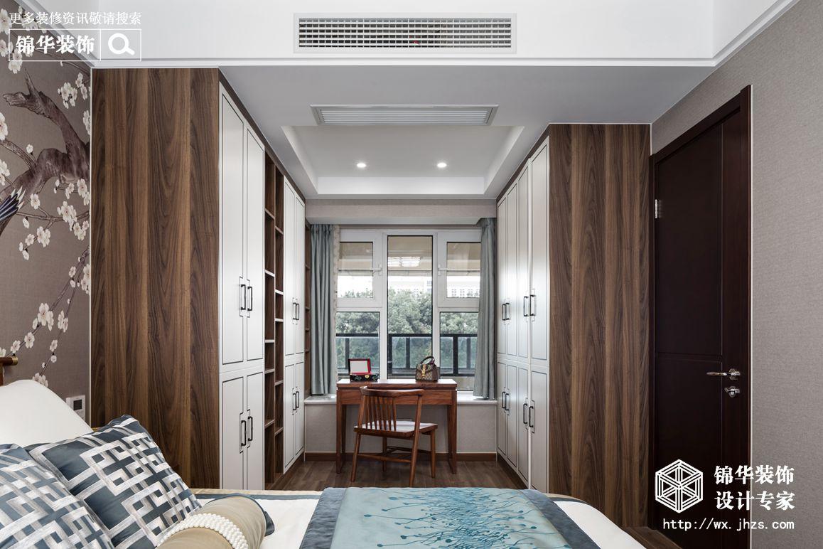 新中式风格-瑷颐湾-两室两厅-89平-卧室-装修实景效果图