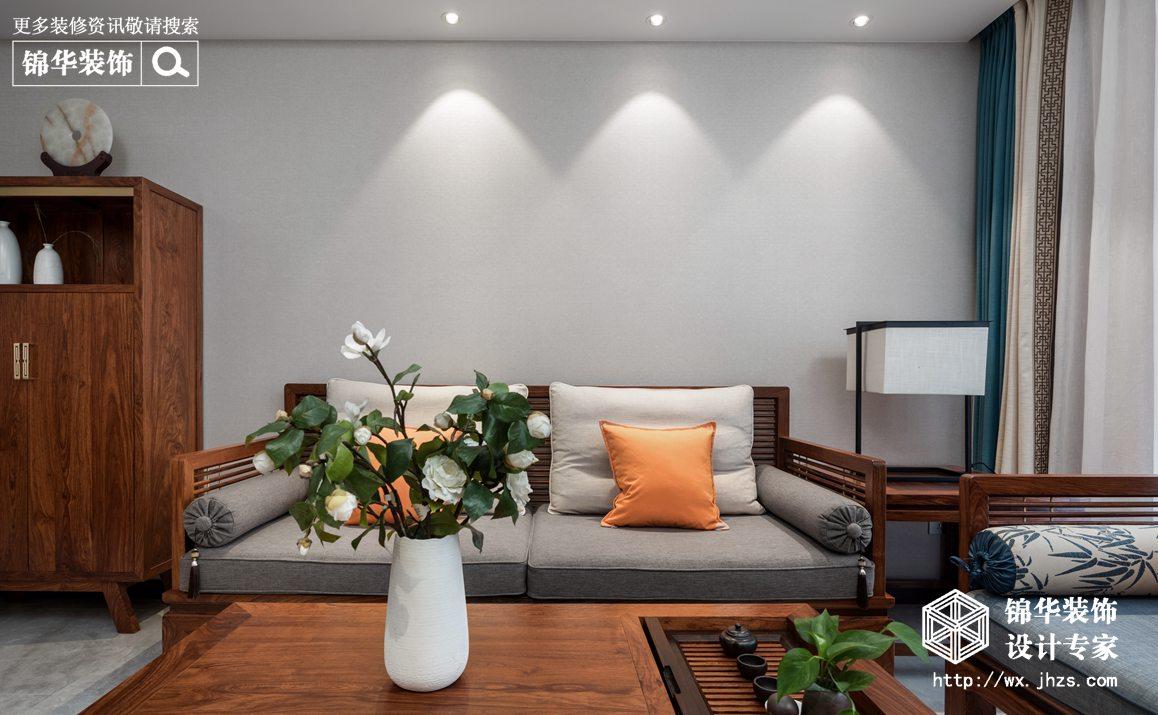 新中式风格-瑷颐湾-两室两厅-89平-客厅-装修实景效果图