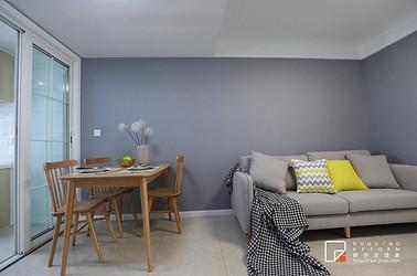 北欧风格-沁园新村-一室两厅-60平-装修效果实景图
