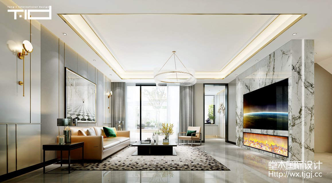 现代轻奢-中堂院墅-别墅- 500平 -装修效果图