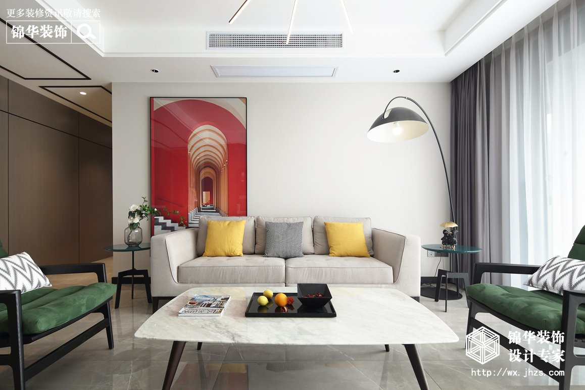 都市现代风格-中建·溪岸观邸-五室两厅-178平-装修实景效果图