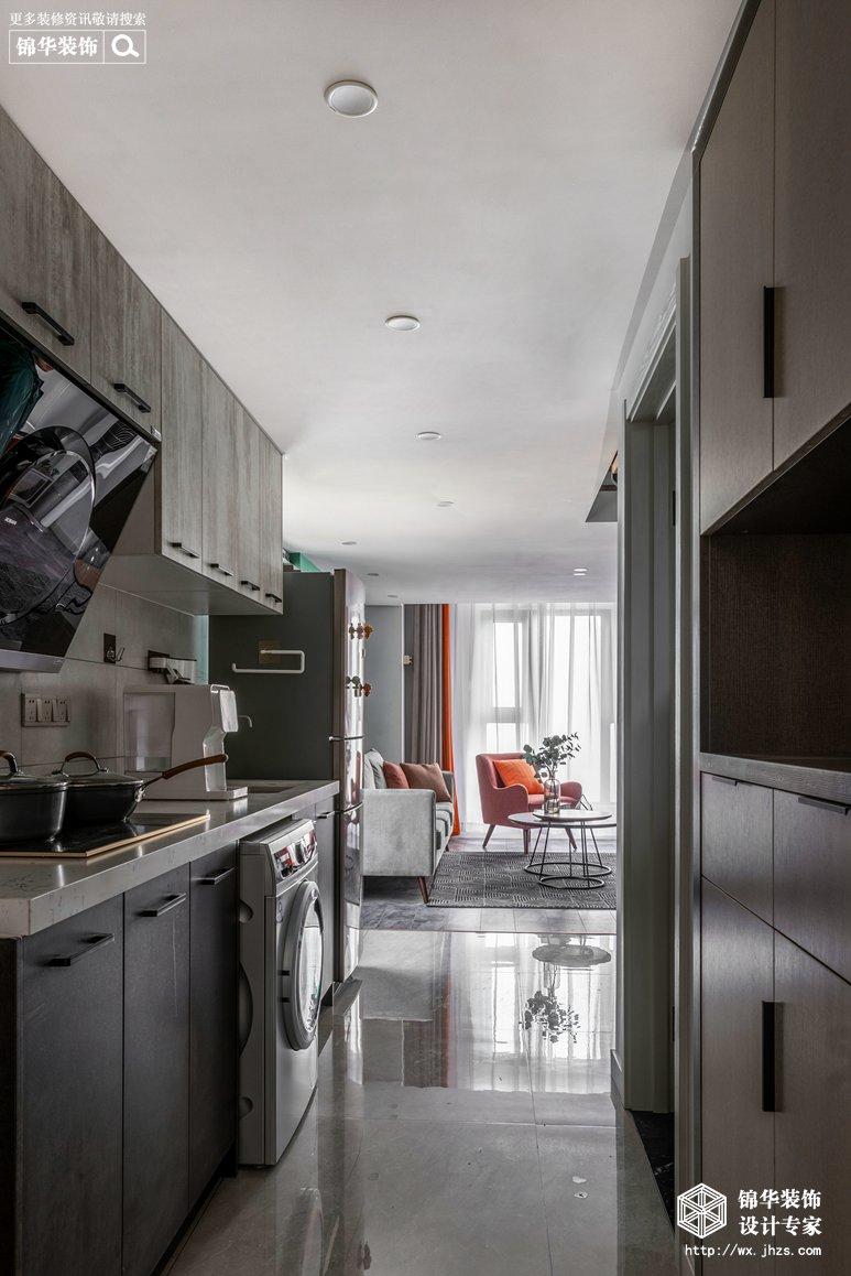 现代北欧-赛格公馆-两室两厅-48平-厨房-装修实景效果图