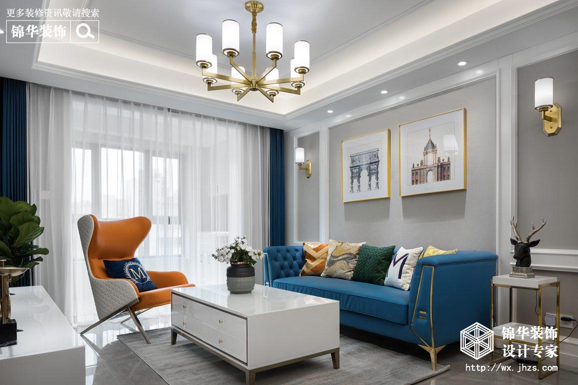 美式轻奢-溪湾雅苑-三室两厅-104平-装修实景效果图