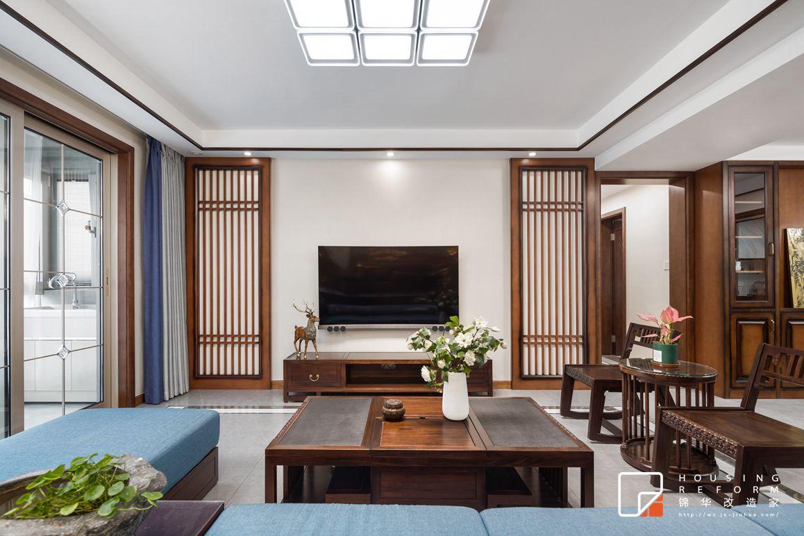 中式风格-御玺-三室两厅-156平-装修实景效果图