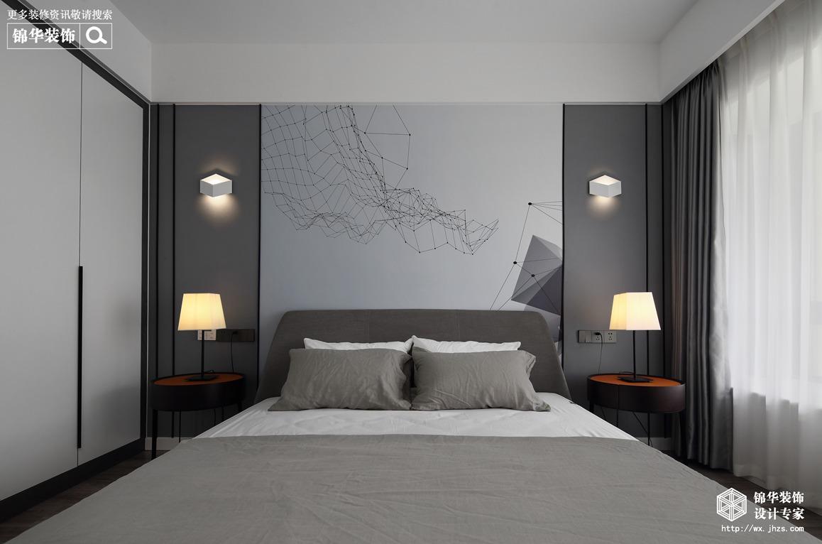 现代风格-碧桂园-两室两厅-85平-卧室-装修实景效果图