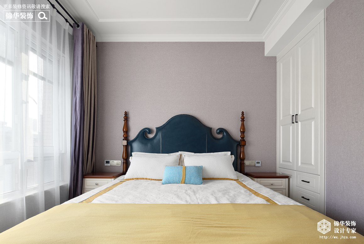 美式风格-映月华府-四室两厅-98平-卧室-装修实景效果图