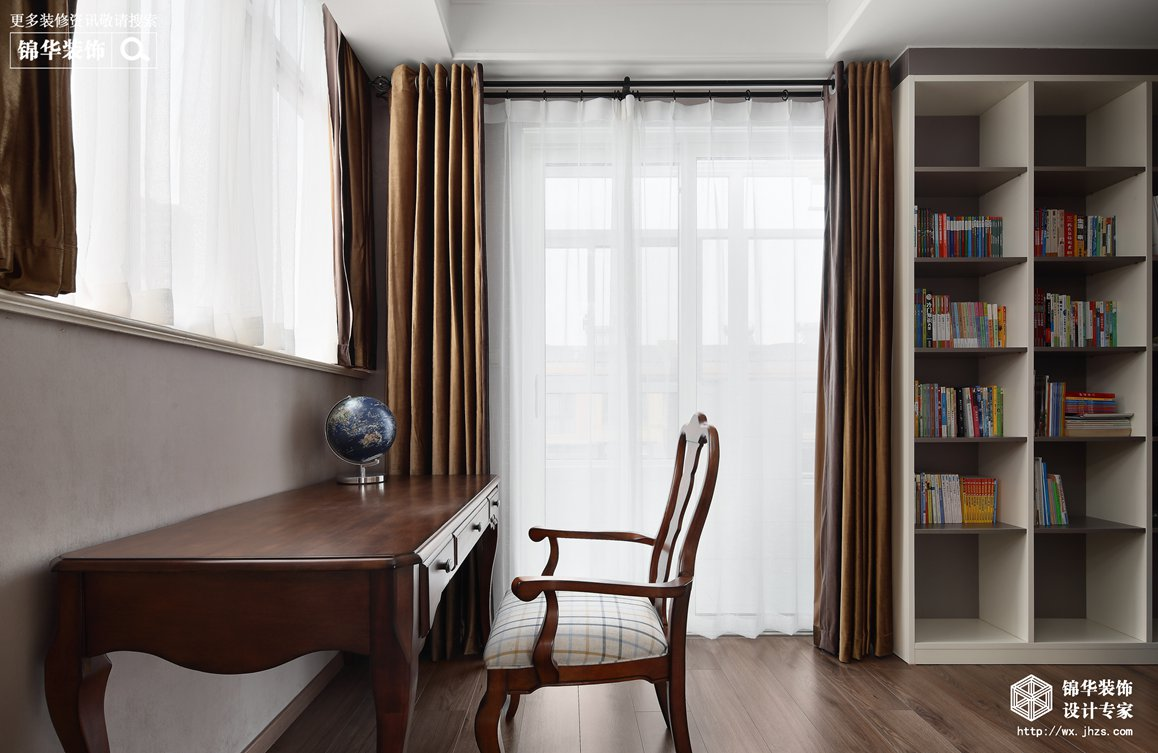 美式风格-映月华府-四室两厅-98平-书房-装修实景效果图