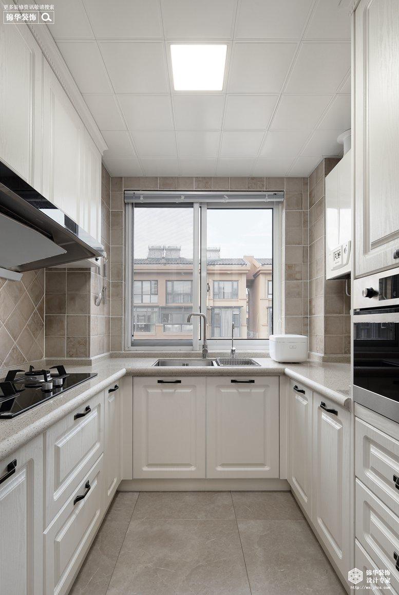 美式风格-映月华府-四室两厅-98平-厨房-装修实景效果图