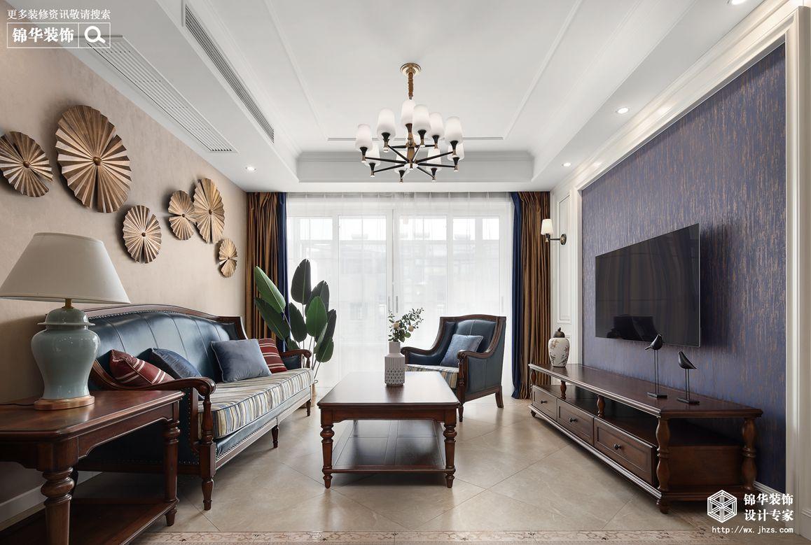 美式风格-映月华府-四室两厅-98平-客厅-装修实景效果图