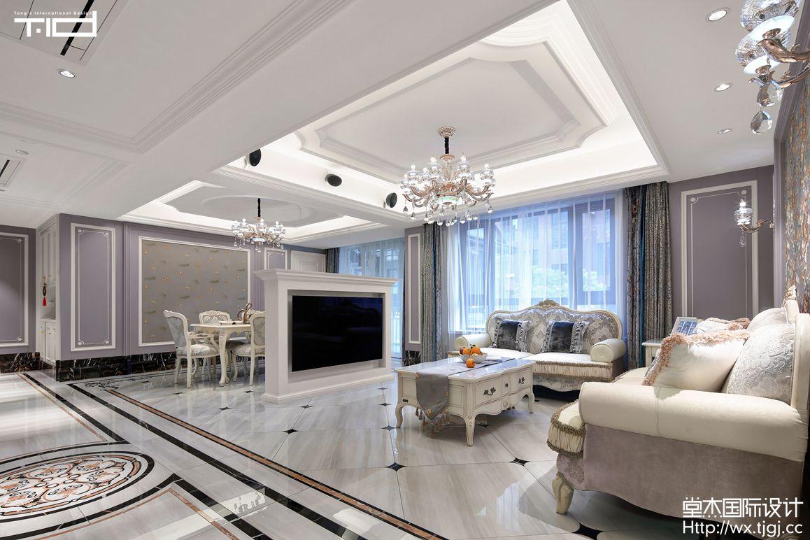 现代欧式风格-信成道-复式-300平-客厅-装修实景效果图